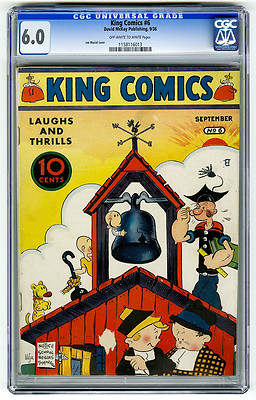 King Comics 6 CGC 60 OWW HIGHEST GRADED Popeye Joe Musial Golden Age Comic