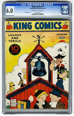 King Comics 6 CGC 60 OWW HIGHEST GRADED Popeye Joe Musial Golden Age Comic