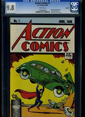 Action Comics 1 CGC 98 WHITE Pages 1988 DC Comics Reprint of 1st Superman App