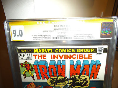 Iron Man55 CGC 90 SS Stan Lee plus Excelsior inscription and Jim Starlin