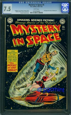 MYSTERY IN SPACE 5 CGC VF  75  White Pages  SCARCE DC SCIENCE FICTION  1951
