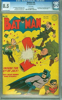 Batman 18 CGC 85 VF WHITE pages Hitler Hirohito Mussolini Classic WWII Cover