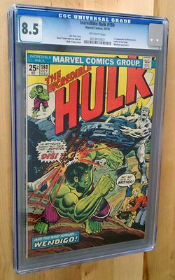 THE INCREDIBLE HULK 180 CGC 85 OFF WHITE 1ST WOLVERINE APP  NOT 181