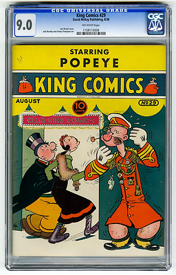 King Comics 29 CGC 90 OW HIGHEST GRADED Popeye Joe Musial Golden Age Comic