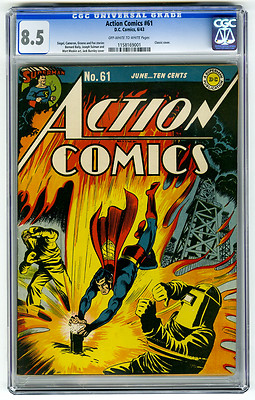 Action Comics 61 CGC 85 2nd HIGHEST OWW Superman Classic Cover Siegel DC Comic