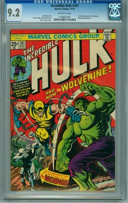 Incredible Hulk 181 CGC 92 NM OW pages 1st Appearance Wolverine SHARP 92
