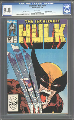 INCREDIBLE HULK 340 CGC 98 1988 WHITE PAGES WOLVERINE