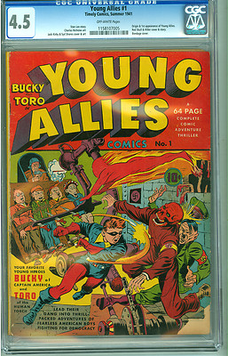 Young Allies 1 CGC 45 VG OW Timely 1941 Jack Kirby Red Skull Hitler Cover