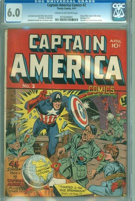 Captain America 2 CGC 60 FN Timely 1941 Classic WWII Hitler Cover