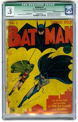 Batman 1 CGC 5 1st Joker  Catwoman App Bob Kane DC Golden Age Comic Detective