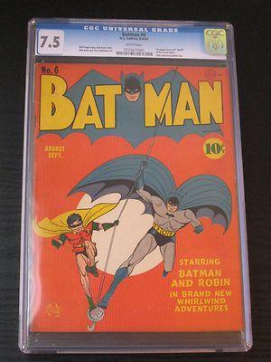 Batman 6 CGC 75 White Pages  1st App Clock Maker  Bob Kane Robin DC Comics