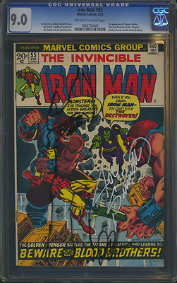 Iron Man 1973 55 CGC 90 1st THANOS  Signed  Sketched by Sinnott  Starlin