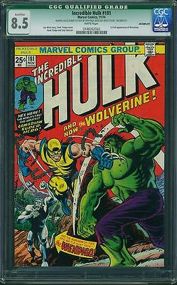 HULK 181  CGC 85 WHITE QUALIFIED STAMP REMOVED 1ST FULL WOLVERINE GREEN LABEL