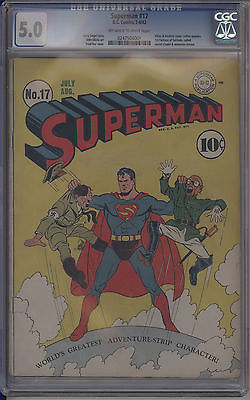 Superman 17 CGC 50 OWTW Golden DC KEY Comic Early Superman Appearance