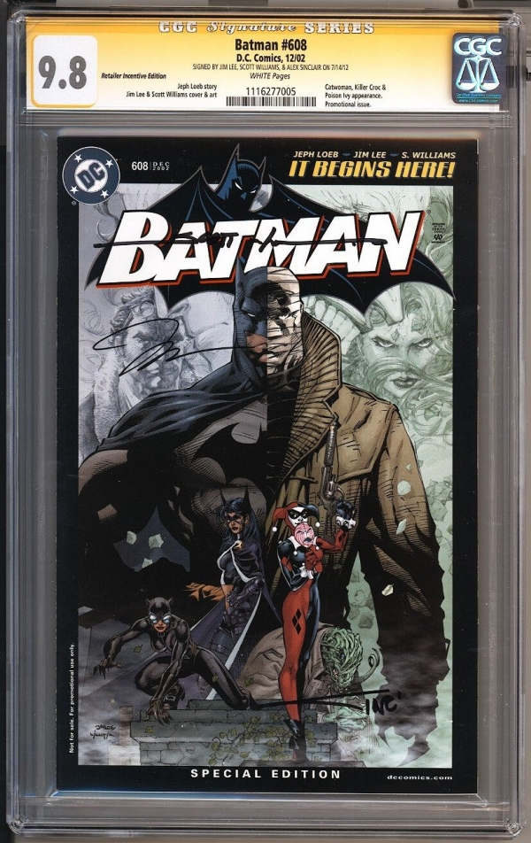 Batman 608 RRP Retailer Variant SS CGC 98 Jim Lee Scott Williams Alex Sinclair