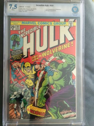 Incredible Hulk 181 CBCS 75  with stamp  Wolverine  Free Ship Like CGC