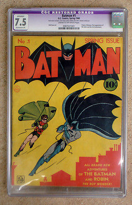 BATMAN 1 1940 SPRING ISSUE  CGC GRADED 75
