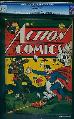 Action Comics 43 CGC VF 80 Cream to OffWhite   DC Superman