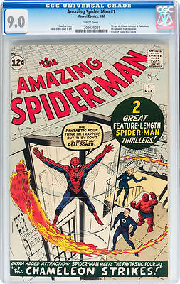 Amazing SpiderMan 1 Vol 1 1963 CGC 90 White Pages Very High Grade Looks 92