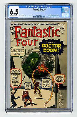 Fantastic Four 5 CGC 65 OWW 1st app Doctor Doom Kirby Lee Marvel Silver Comic