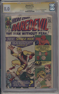 Daredevil 1 CGC 80 YELLOW LABLE SIGNED BY STAN LEE SICK BOOK