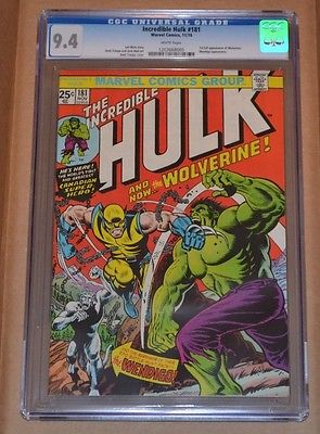 INCREDIBLE HULK 181 CGC 94 WHITE PAGES 1ST FULL APP OF WOLVERINE 3 DAYS ONLY