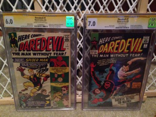 Daredevil 1 CGC And Daredevil 7 CGC Signed By Stan Lee