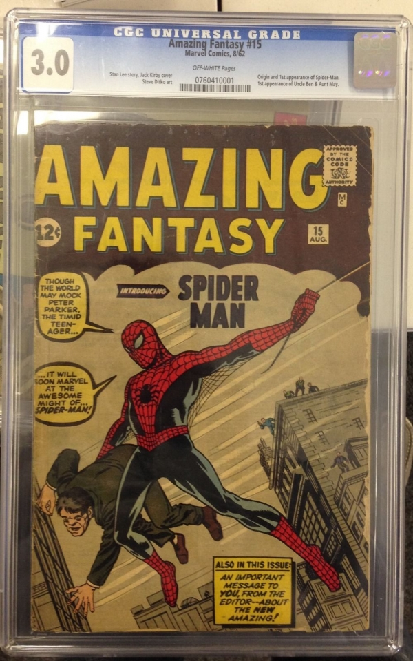 AMAZING FANTASY 15 1ST APPEARANCE OF SPIDERMAN PETER PARKER CGC 30 OFF WHITE