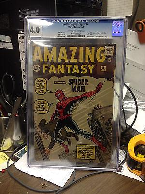 Amazing Fantasy 15 Aug 1962 CGC Grade 40 1st Spiderman