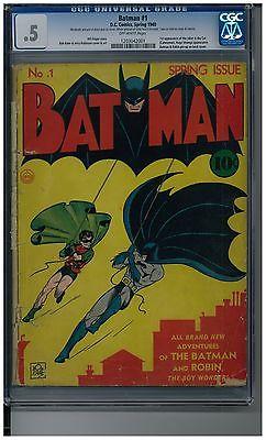 Batman 1 CGC 5 unrestored Bob Kane 1940 Golden Age DC