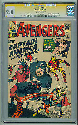Avengers 4 CGC SS 90 Signed by STAN LEE 1st Silver Age Captain America 1964