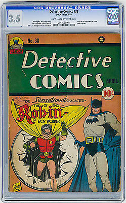 Detective Comics 38 CGC 35 KEY 1st app Robin Kane Siegel DC Golden Age Comic