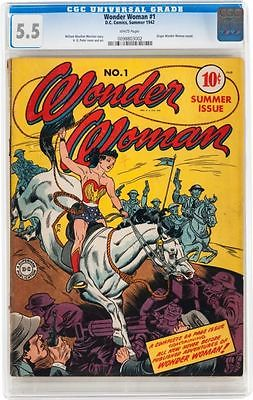 Wonder Woman 1 CGC 55 DC 1942 WHITE pages Golden Age Key C6 982 cm