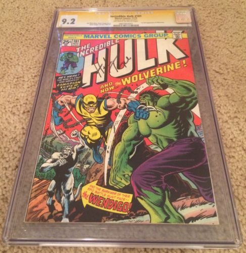INCREDIBLE HULK 1974 181 CGC 92 OWW SIGNED BY HERB TRIMPE 1ST WOLVERINE