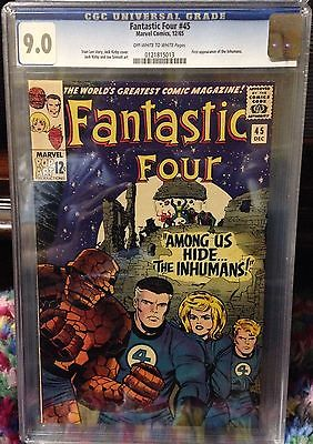 FANTASTIC FOUR 45 CGC 90 WHITE PAGES  1st Appearance of the Inhumans 1965