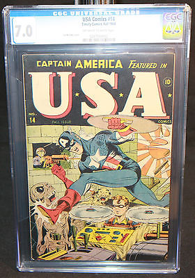 USA Comics 14  Captain America Saves Bucky  CGC Grade 70  1944