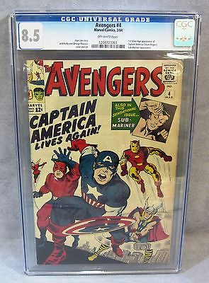 THE AVENGERS 4 1st Captain America Silver Age CGC 85 VF Marvel Comics 1964