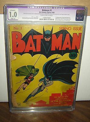 Batman 1 CGC 10 DC 1940 Original 1st JOKER  CATWOMAN SA RESTO id 15675