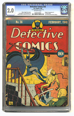 DETECTIVE COMICS 36 CGC 20 OW pages BATMAN ORIGIN OF HUGO STRANGE