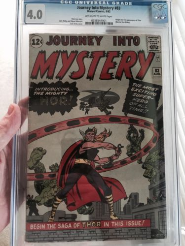 Journey Into Mystery 83CGC Universal 40 OWW1st Appearance of Thor