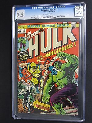 cgc 75 INCREDIBLE HULK 181 FIRST APPEARANCE OF WOLVERINE