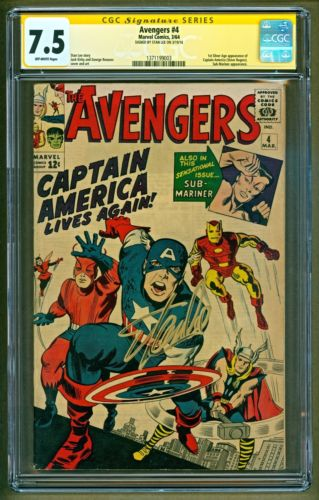 Avengers 4 1964 Marvel 1st SA app Captain America SIGNED Stan Lee SS CGC 75