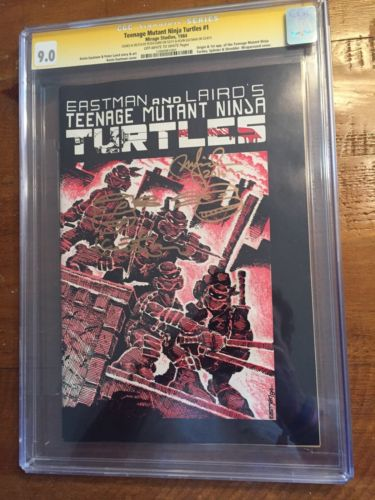 Teenage Mutant Ninja Turtles 1 CGC SS 90 TMNT 1st Printing Auto  Sketch