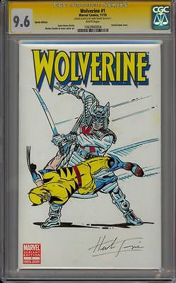 WOLVERINE 1 CGC 96 SS HERB TRIMPE SAMURAI V WOLVIE DOUBLE FIGURE COLORED SKETCH