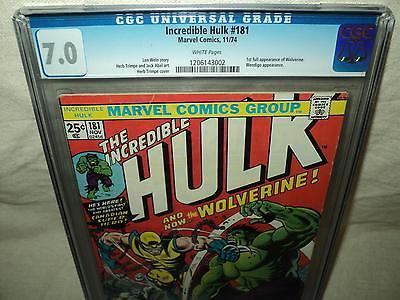 Incredible Hulk 181 CGC 70 White p 1st Full Wolverine 1974 Marvel id 15268