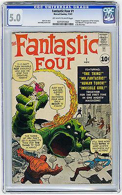 Fantastic Four 1 CGC 50 OWW MEGA KEY Beautiful Origin  1st app Marvel Comic