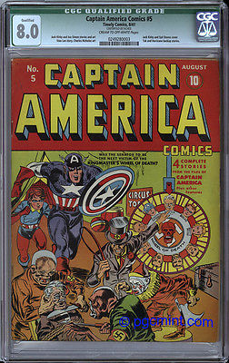 CAPTAIN AMERICA COMICS 5  CGC VF 80 UNRESTORED  RARE  1941 TIMELY Publ