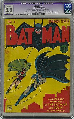Batman 1 CGC 35 MEGA KEY 1940 1st Joker 1st Catwoman Origin DC Golden Age