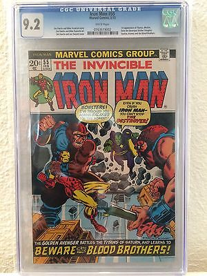 IRON MAN 55 CGC 92 White Pages 1st Appearance of THANOS  Key Issue Marvel