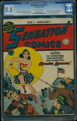 Sensation Comics 1 CGC 55 Golden Age Key Comic 1st Wonder Woman Cover LK